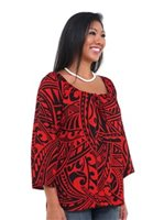 Hilo Hattie Red Rayon Hawaiian Peasant Top 3/4 Sleeve