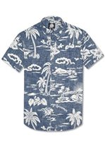 Reyn Spooner My Private Isle Ink Cotton Polyester Men's Hawaiian Shirt Tailored Fit