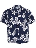 Two Palms Ukulele Navy Cotton Men's Open Collar Hawaiian Shirt
