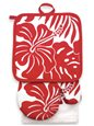 Island Heritage Hibiscus Floral Red Oven Mitt & Potholder set