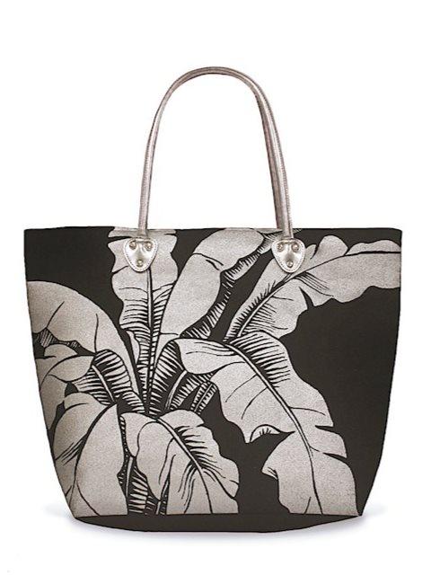 2e97363530 Island Heritage Banana Leaf Black Tote Bag