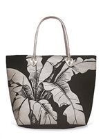Island Heritage Banana Leaf Black Tote Bag