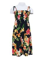 Two Palms Julia Black Rayon Girls Hawaiian Summer Dress