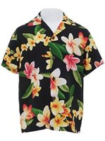 Two Palms Julia Black Rayon Boys Hawaiian Shirt