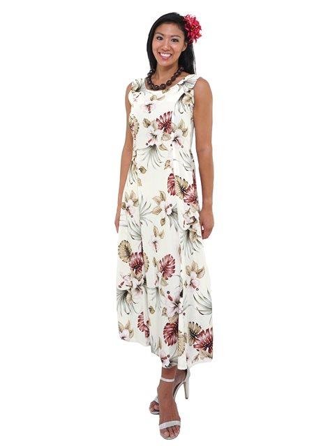 38cce1587 Royal Hawaiian Creations Hibiscus & Monstera Cream Rayon Hawaiian  Sleeveless Long Dress
