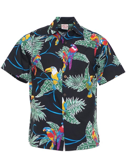 b391703ac Go Barefoot Vintage Tropical Birds Black Cotton Men's Hawaiian Shirt ...