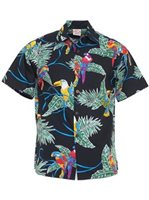 Go Barefoot Vintage Tropical Birds  Black Cotton Men's Hawaiian Shirt