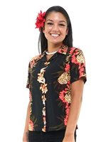 Hilo Hattie Pineapple panel Black Rayon Women's Hawaiian Shirt