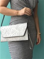 Happy Wahine Hibiscus Embossed Silver Clutch Victoria
