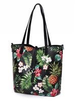 Happy Wahine Pineapple Black Reversible Tote Nancy Small
