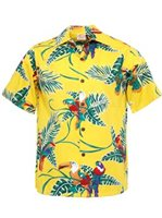 Go Barefoot Vintage Tropical Birds Yellow Cotton Men's Hawaiian Shirt
