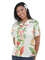 Hilo Hattie BOP Panel Beige Rayon Women's Hawaiian Camp Blouse