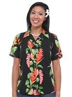 Hilo Hattie BOP Panel Black Rayon Women's Hawaiian Camp Blouse