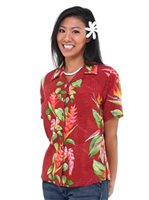 Hilo Hattie BOP Panel Red Rayon Women's Hawaiian Camp Blouse