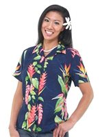 Hilo Hattie BOP Panel Navy Rayon Women's Hawaiian Camp Blouse