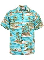 Go Barefoot Paradise Teal Cotton Men's Hawaiian Shirt