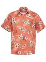 Go Barefoot Bamboo Plumeria Coral Cotton/Rayon Men's Hawaiian Shirt