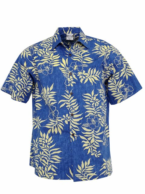 e96ec2f88 Go Barefoot Mini Tahitian Royal Gold Cotton Men's Hawaiian Shirt ...