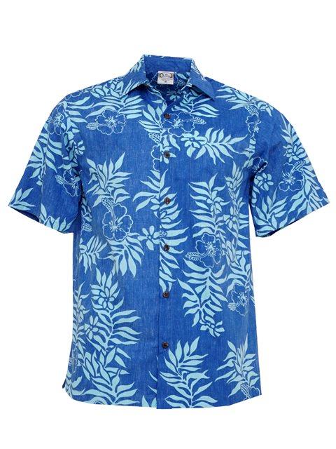 ca80bf817 Go Barefoot Mini Tahitian Aqua&Peri Cotton Men's Hawaiian Shirt ...