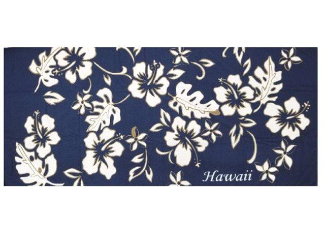 2ced8187e Hilo Hattie Classic Hibiscus Pareo Blue Beach Towel | AlohaOutlet