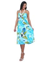 Two Palms Ginger  Blue Rayon Hawaiian Summer Midi Dress