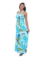 Two Palms Ginger Blue Rayon Hawaiian Summer Maxi Dress