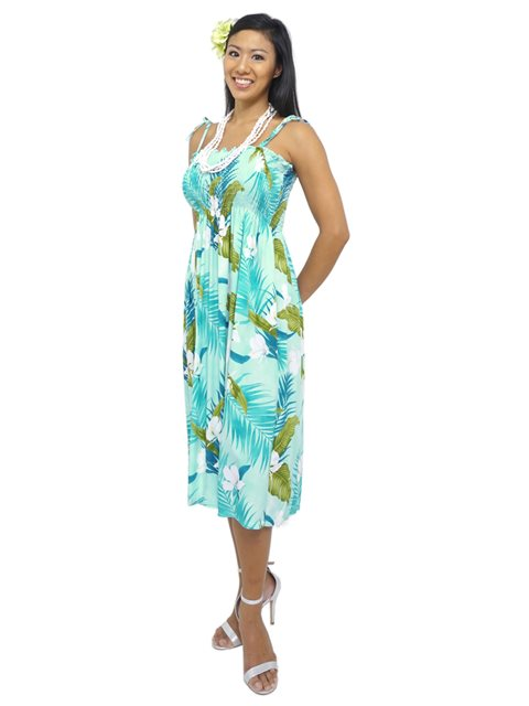 Ginger  Aqua Rayon Hawaiian Summer Midi Dress