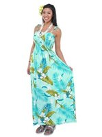 Two Palms Ginger Aqua Rayon Hawaiian Summer Maxi Dress