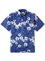 Reyn Spooner 50th State Flower Blue Cotton Polyester Men's Hawaiian Shirt Classic Fit
