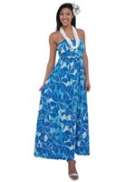 [Exclusive] Iolani Kiyomi Blue Stretch Bandeau Top Knit Maxi-Dress