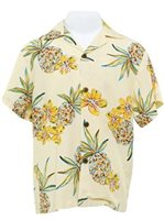 Two Palms Hale Kahiki Cream Rayon Boys Hawaiian Shirt
