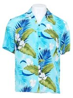Two Palms Ginger Blue Rayon Men's Hawaiian Shirt