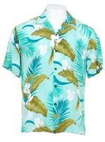 Two Palms Ginger Aqua Rayon Men's Hawaiian Shirt