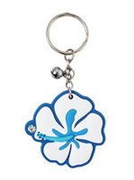 Hibiscus Blue Rubber Keychain