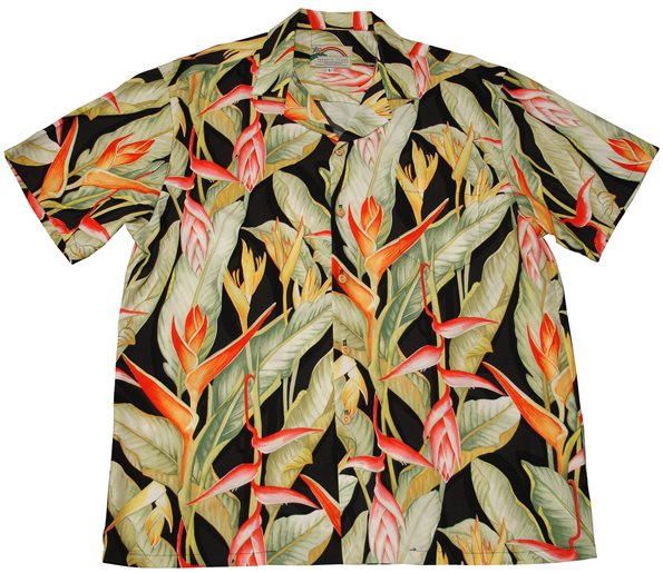 55c5d708d43 Paradise Found Heliconia Black Rayon Men s Hawaiian Shirt