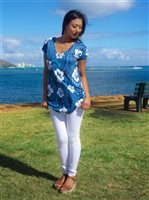 Coral of the Sea Hawaii Tribal Navy Blue Polyester Spandex Mele Dress