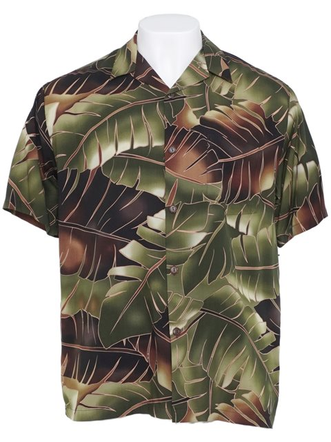 6dc59462 Hilo Hattie Mai'a Breeze Brown Rayon Men's Hawaiian Shirt | AlohaOutlet