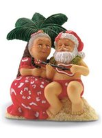 Island Heritage Serenading Santa Hand Painted Ornament