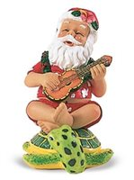 Island Heritage Strumming Santa On Honu Hand Painted Ornament