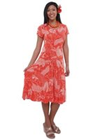 Iolani Ainahau Dark Coral Drop Waist Dress