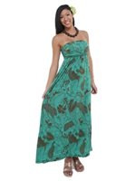 Iolani Aihahau Mint Stretch Bandeau Top Knit Maxi-Dress