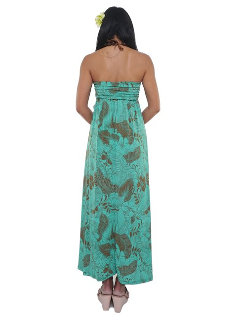Iolani Aihahau Mint Stretch Bandeau Top Knit Maxi Dress