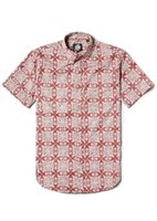 Reyn Spooner 2018 Christmas Quilt Red Cotton Men's Hawaiian Shirt Tailored Fit