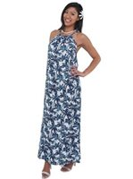 Coral of the Sea Shadow Palm Navy Gia Long Dress