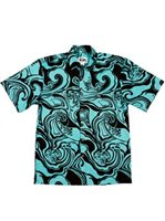 Rix Island Wear Waimea Black Aqua Cotton Men's Hawaiian Shirt Classic Fit