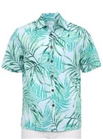 Anuenue Fresh Fern Leaf Denim Poly Cotton Men's Hawaiian Shirt