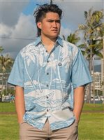 Rix Island Wear Canoe Palms It Blue White Cotton Men's Hawaiian Shirt Classic Fit