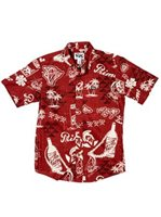 Rix Island Wear Primo Throwback Rust Cotton Men's Hawaiian Shirt Slim Fit