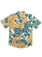 Rix Island Wear Primo Tribal Mustard Teal Cotton Men's Hawaiian Shirt Slim Fit