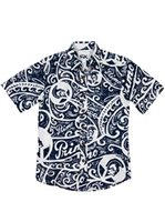 Rix Island Wear Primo Tribal Navy Cotton Men's Hawaiian Shirt Slim Fit